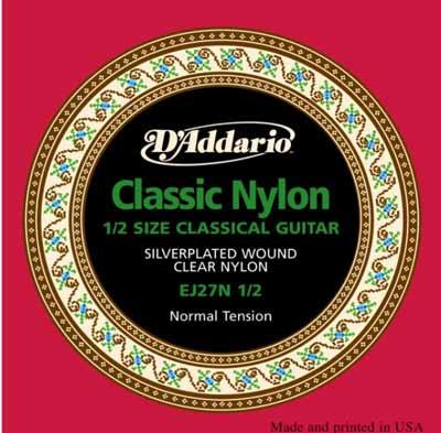 Kindergitarren Saiten D'addario classic nylon 1/2
