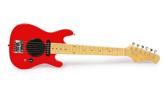 Elektrische Spielzeug-Gitarre mit eingebautem Lautsprecher. Rockig!