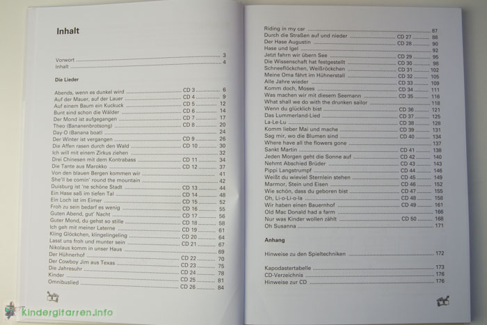 Rolfs Kinderliederbuch Inhaltsverzeichnis