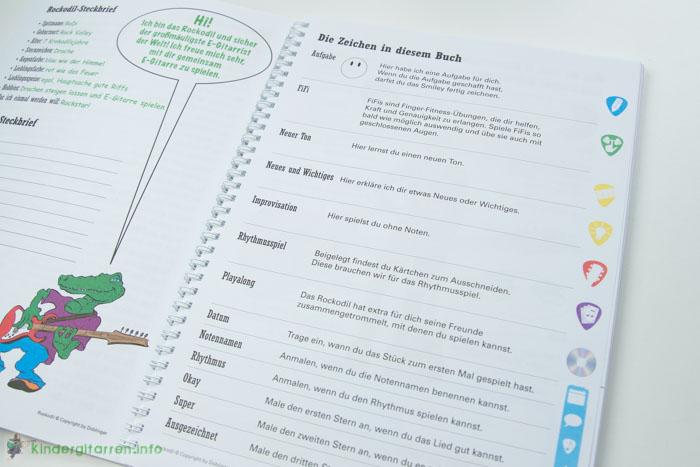 Rockodil - Kinder E-Gitarren Lehrbuch - Zeichen im Buch